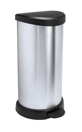 CURVER Pedálos szemetes, fémhatású, 40 l, CURVER