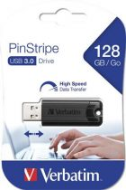 """VERBATIM Pendrive, 128GB, USB 3.0, VERBATIM """"Pinstripe"""", fekete"""