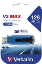 """VERBATIM Pendrive, 128GB, USB 3.0, 175/80 MB/sec, VERBATIM """"V3 MAX"""", kék-fekete"""