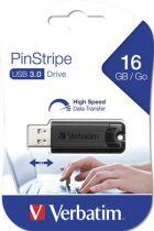 """VERBATIM Pendrive, 16GB, USB 3.0, VERBATIM """"Pinstripe"""", fekete"""
