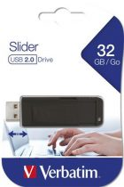 """VERBATIM Pendrive, 32GB, USB 2.0, VERBATIM """"Slider"""", fekete"""