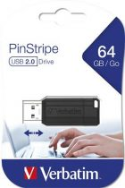 """VERBATIM Pendrive, 64GB, USB 2.0, 10/4MB/sec, VERBATIM """"PinStripe"""", fekete"""