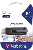 """VERBATIM Pendrive, 64GB, USB 3.0, 80/25 MB/sec, VERBATIM """"V3"""", fekete-szürke"""