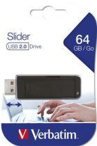 """VERBATIM Pendrive, 64GB, USB 2.0, VERBATIM """"Slider"""", fekete"""
