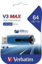 """VERBATIM Pendrive, 64GB, USB 3.0, 175/80 MB/sec, VERBATIM """"V3 MAX"""", kék-fekete"""