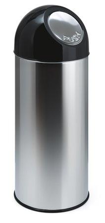 VEPA BINS Nyomófedeles szemetes, 55 l, fém, VEPA BINS, ezüst/fekete