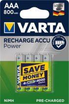 """VARTA Tölthető elem, AAA mikro, 4x800 mAh, előtöltött, VARTA """"Power"""""""