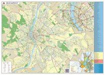 STIEFEL Falitérkép, 100x140 cm, fémléces, Budapest térképe STIEFEL