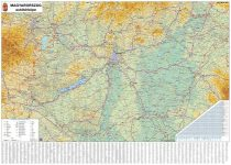 STIEFEL Falitérkép, 70x100 cm, fémléces,  Magyarország autótérképe,  STIEFEL