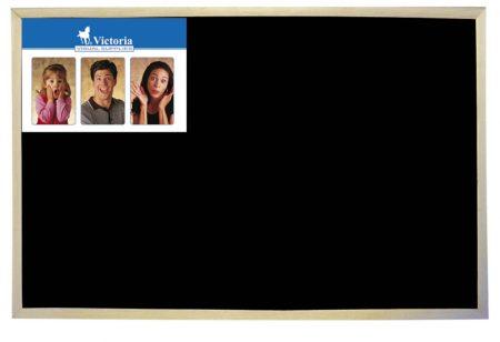 VICTORIA Krétás tábla, fekete felület, nem mágneses, 60x90 cm, fakeret, VICTORIA